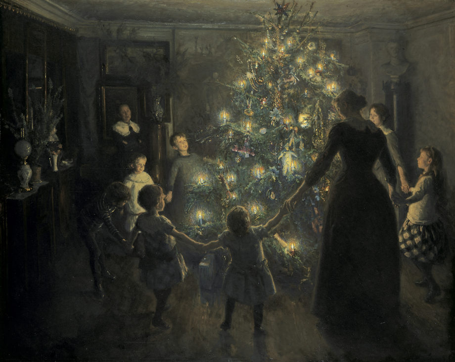 19th century artist depiction of family around christmas tree